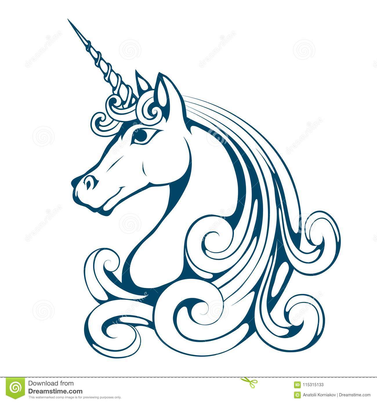 Unicorn. Cartoon Unicorn Head. Magic Animal. Stock Vector ...