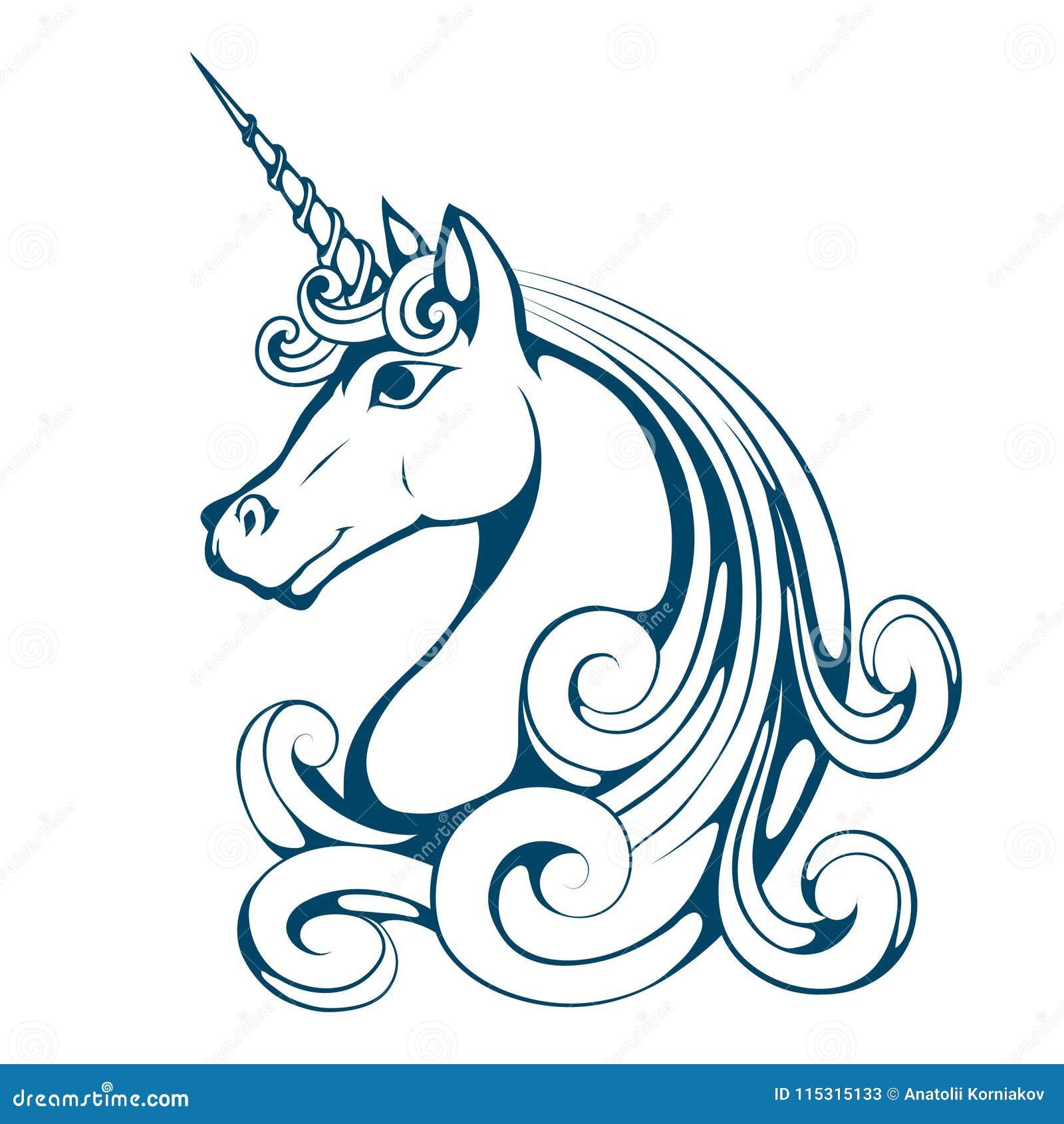 Unicorn. Cartoon Unicorn Head. Magic Animal. Stock Vector ...