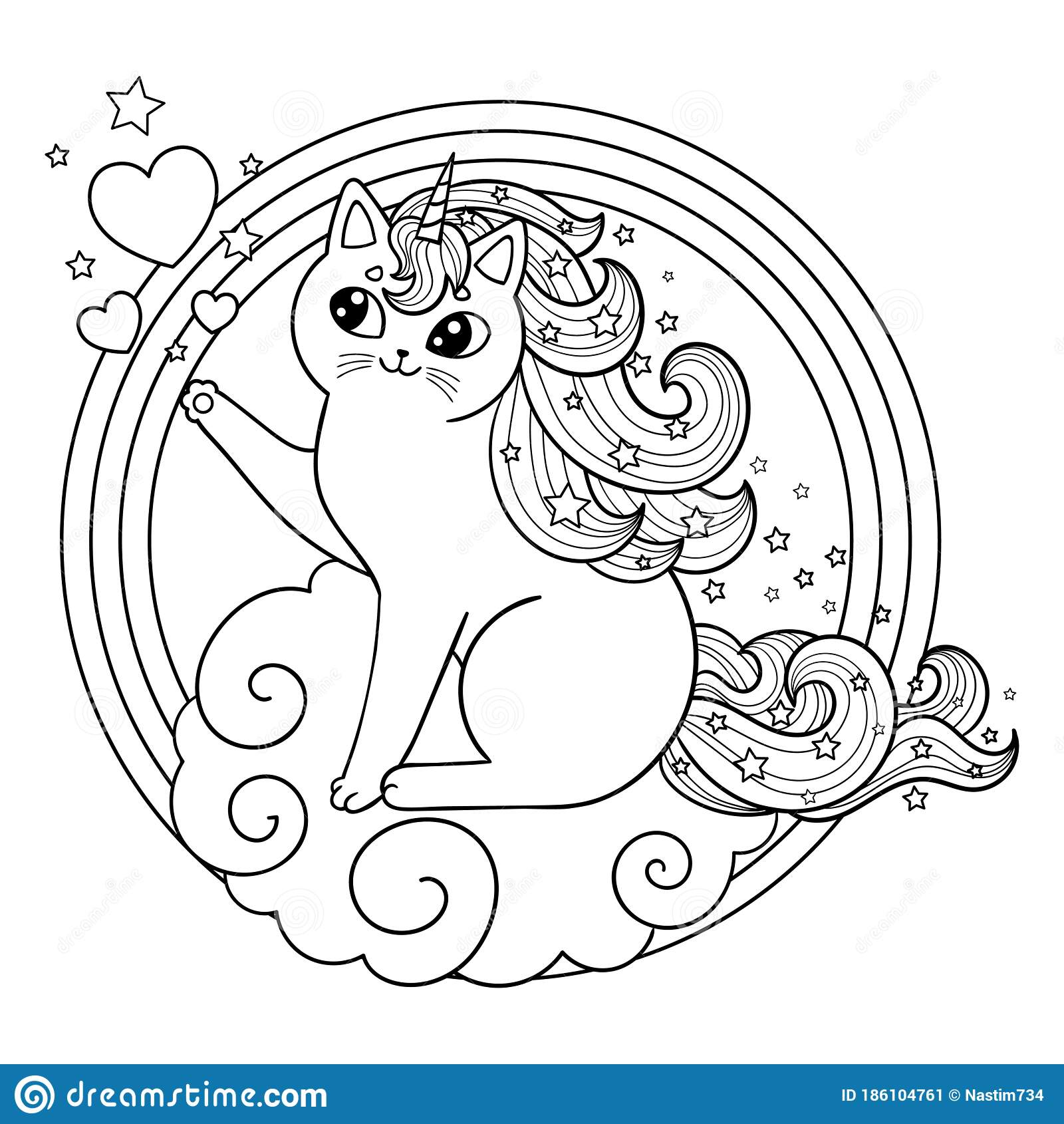 Unicorn Cat On A Cloud In A Round Frame. Cute Kitten With ...