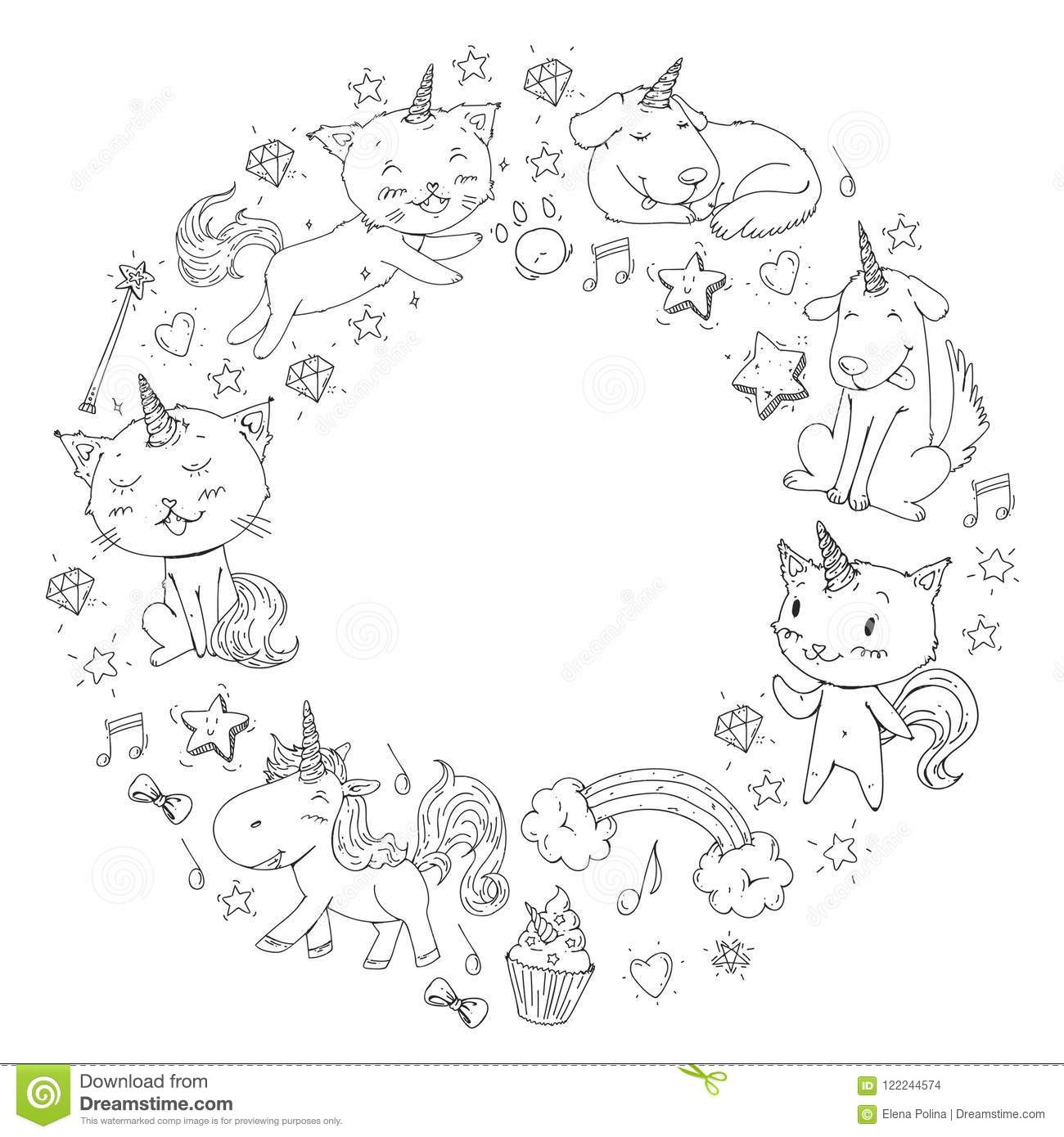 Unicorn Frame. Cats, Dog, Horse, Pony. Vector Image ...