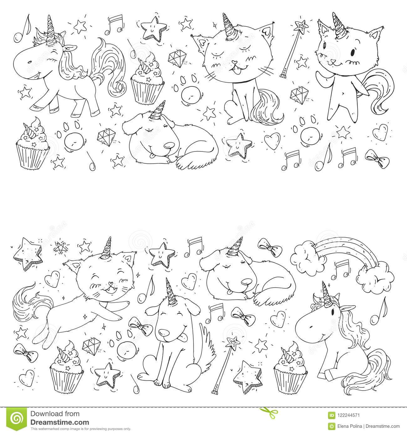Unicorn. Cats, Dog, Horse, Pony. Vector Image. Coloring ...