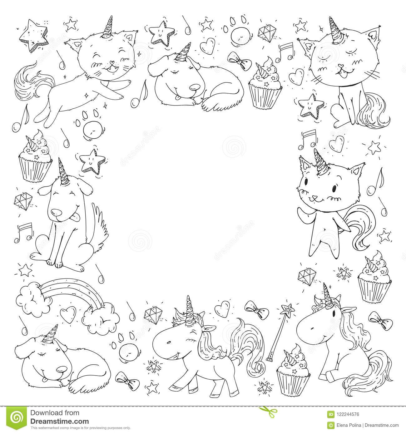 Unicorn. Cats, Dog, Horse, Pony. Vector Image. Coloring Page For ...