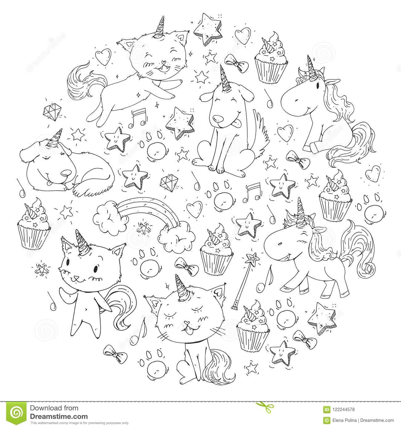 Unicorn. Cats, Dog, Horse, Pony. Vector Image. Coloring Page ...