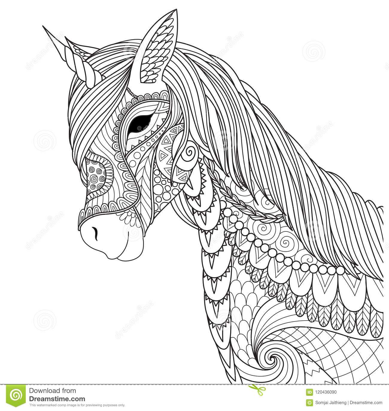 Unicorn for coloring book page and other design element vector illustration