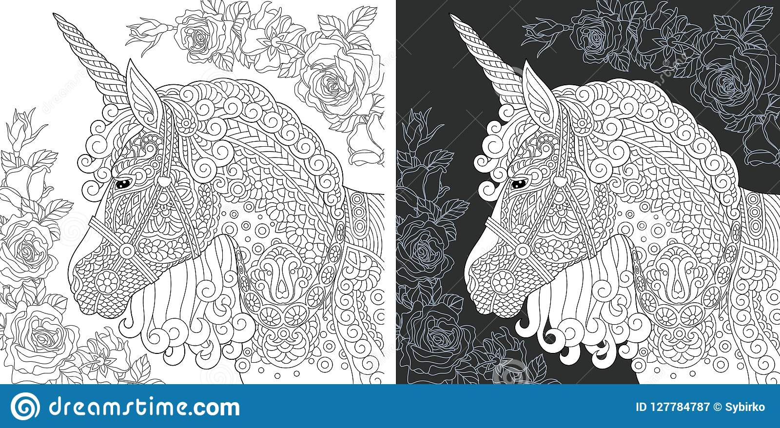 Unicorn Coloring Page Stock Vector Illustration Of Chalk 127784787
