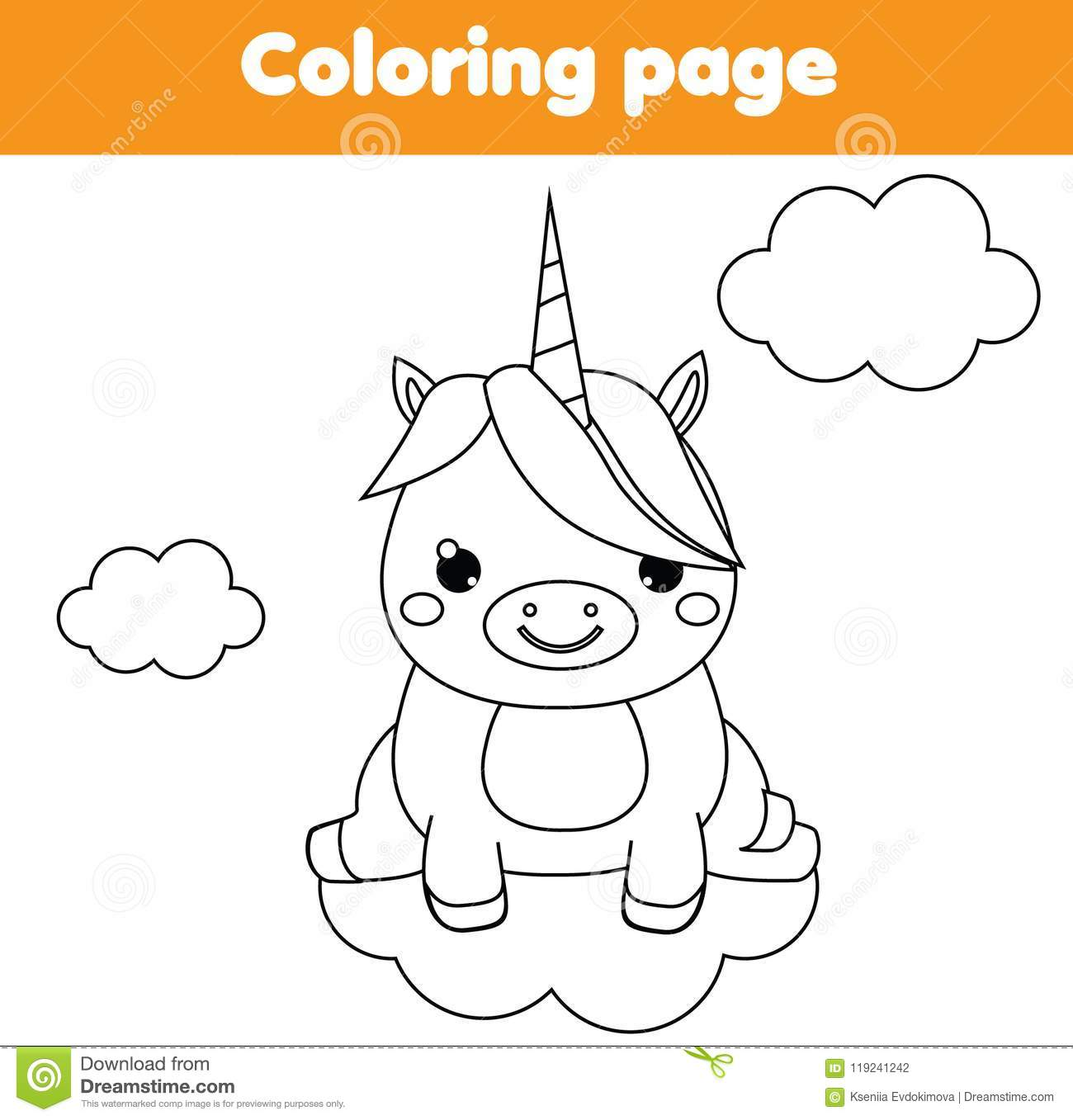 Unicorn coloring page educational children game drawing kids printable activity