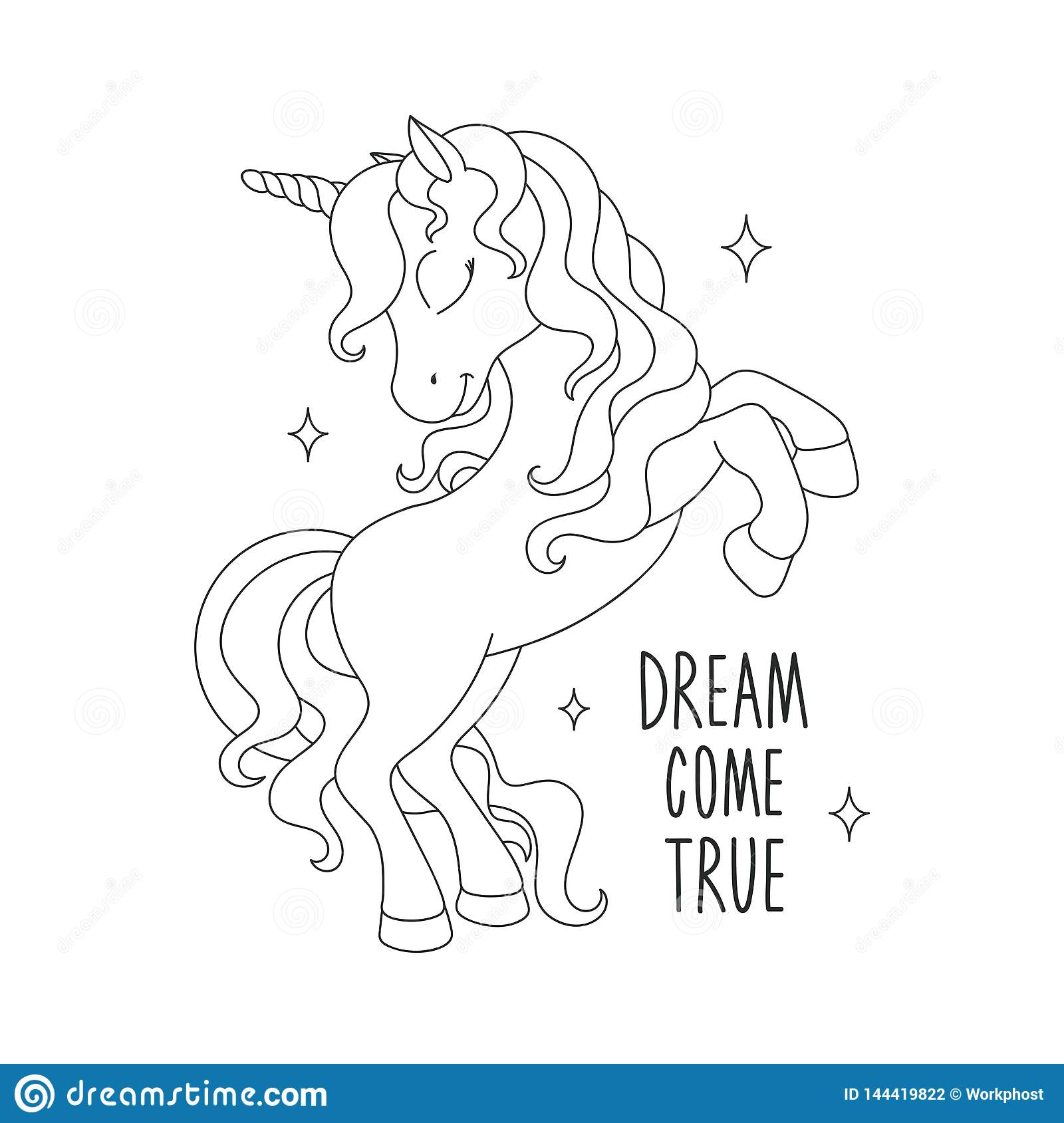 Unicorn Coloring Pages. Dream Come True Text. Illustration ...