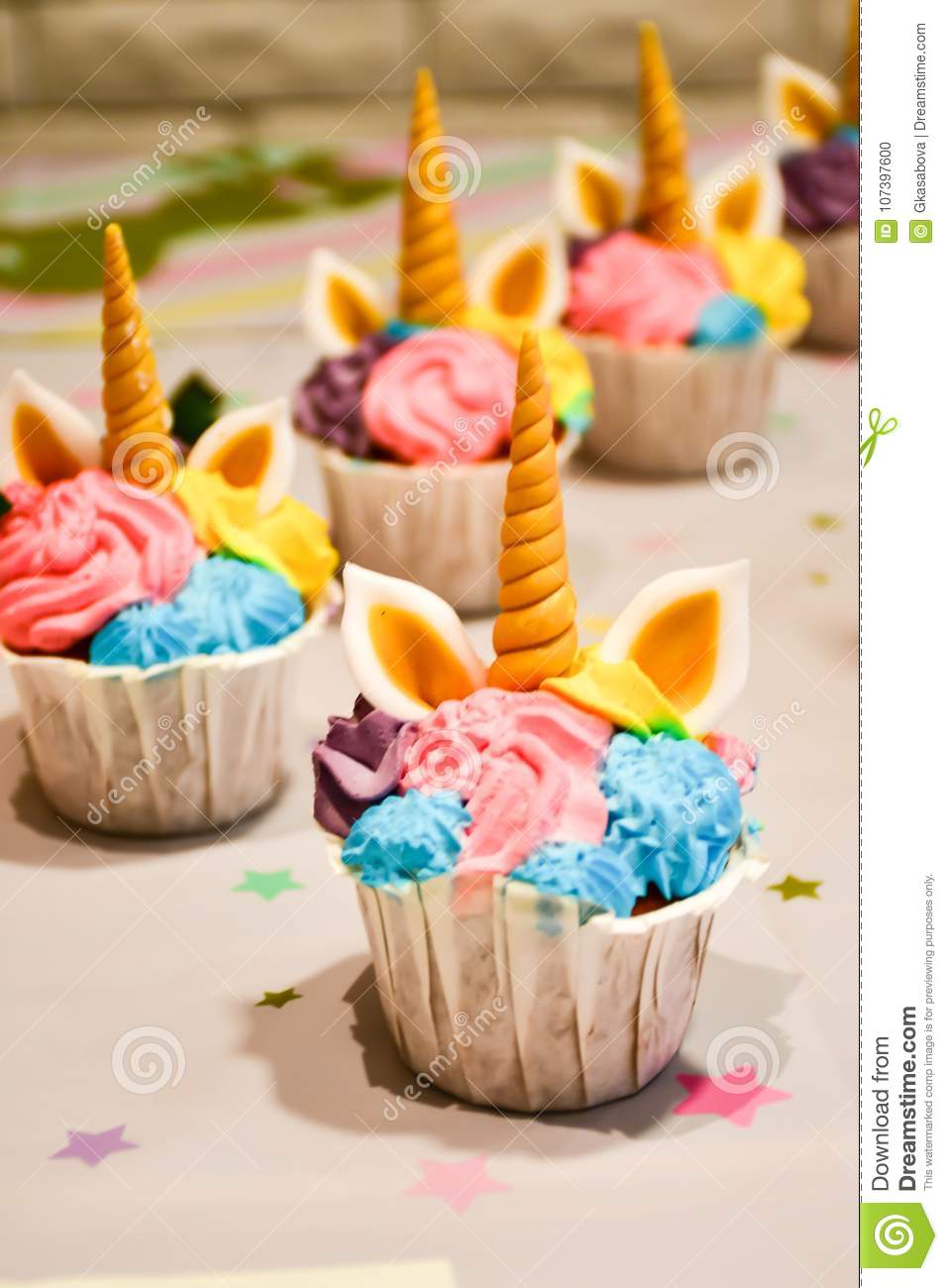 Unicorn Cupcakes For A Party Stock Photo Image Of Cupcake