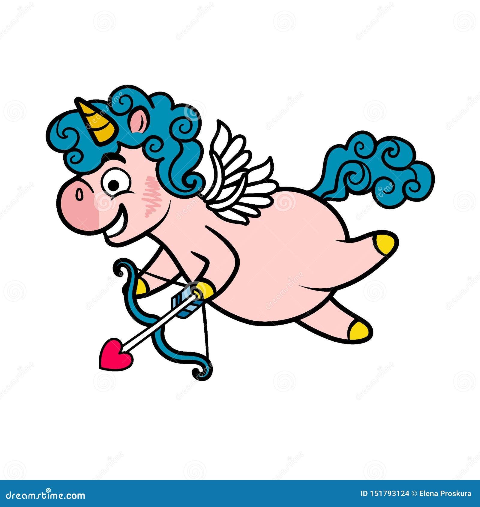 Unicorn Cupid med vingar, pilbågen och pilen