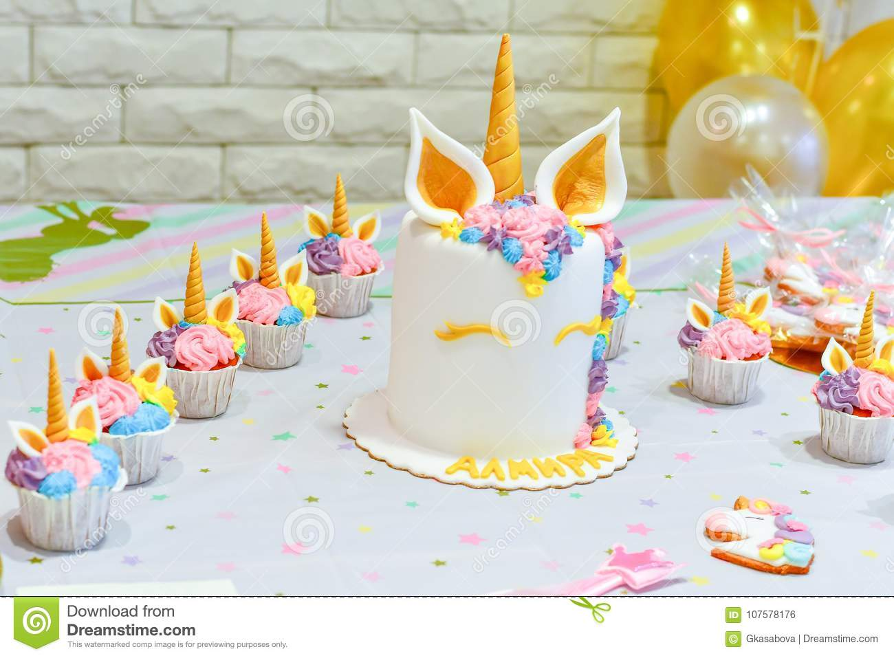 Unicorn Decoration For Party Stock Photo Image Of Cupcake