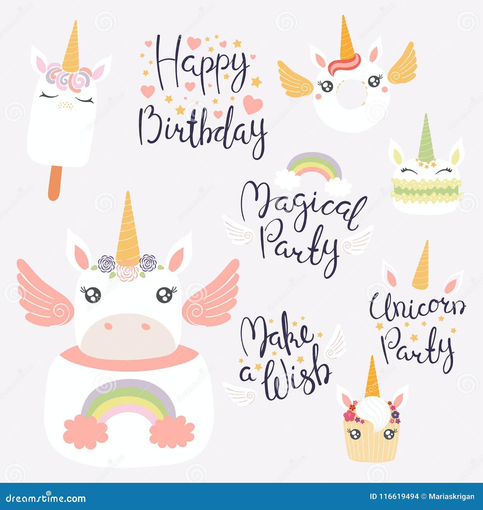 unicorn dessert set stock vector illustration of girl