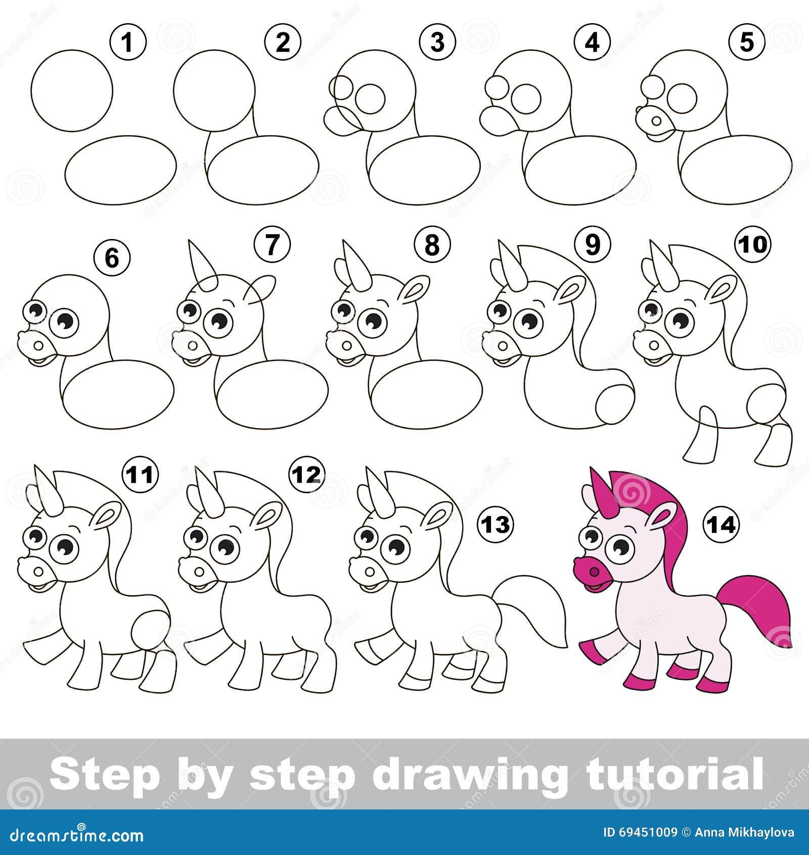 Unicorn Drawing Tutorial Stock Vector Illustration Of Unicorn
