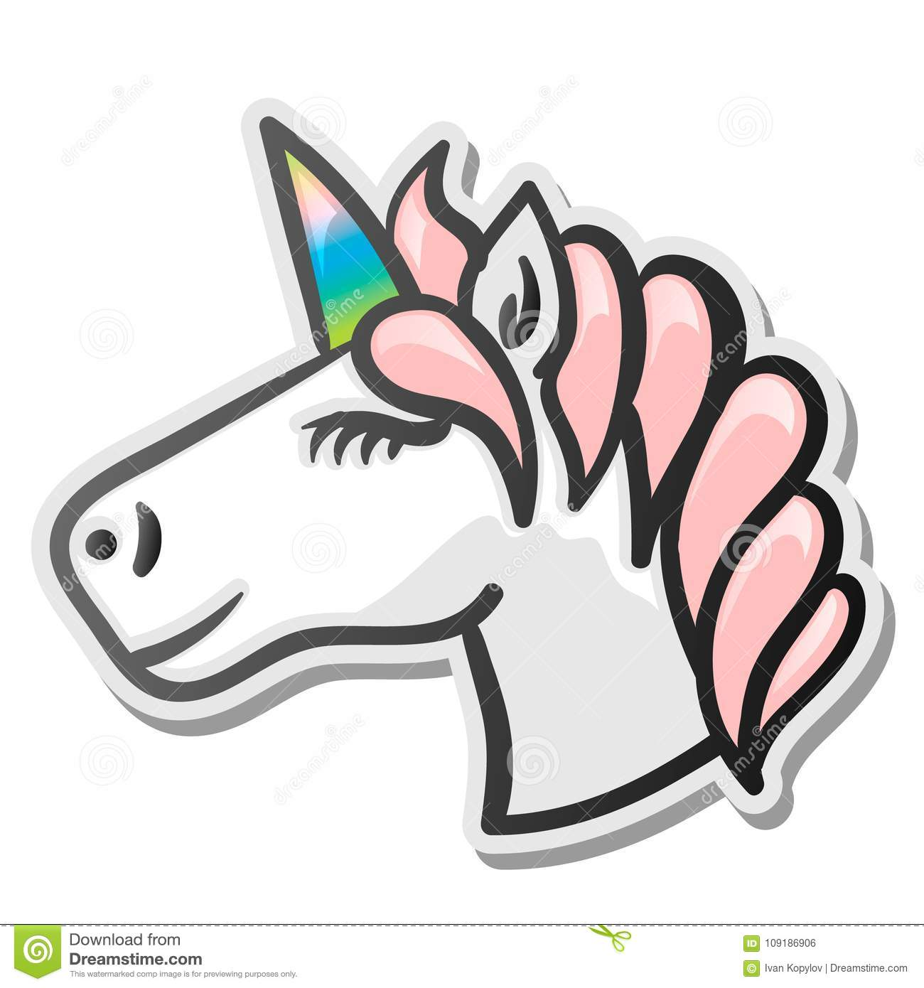Unicorn Emoji Sticker Stock Vector Illustration Of Hair 109186906