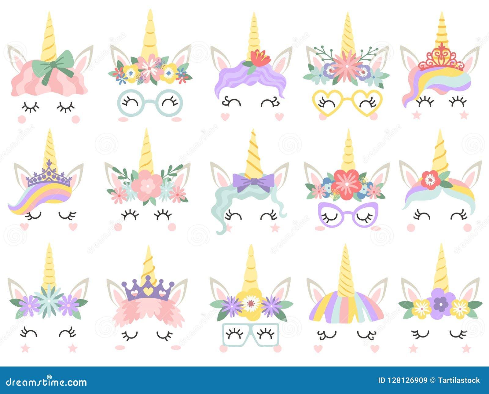Unicorn Face As caras bonitas dos unicórnios do pônei, o chifre mágico na grinalda da flor do arco-íris e as pestanas bonitos vec