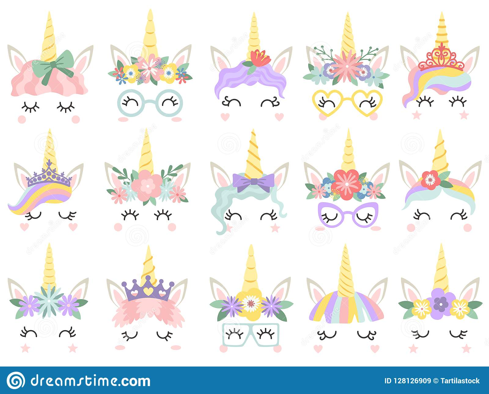 Unicorn Face Härliga ponnyenhörningar vänder mot, det magiska hornet i regnbågeblommakrans och den gulliga ögonfransvektorillustr