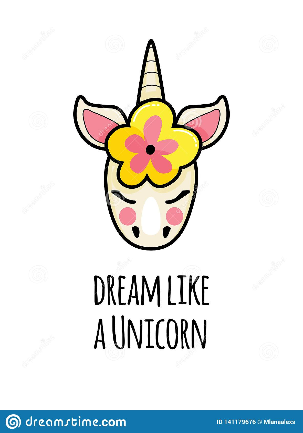 Unicorn Face With Quotes. Vector Portrait Of A Funny Unicorn ...