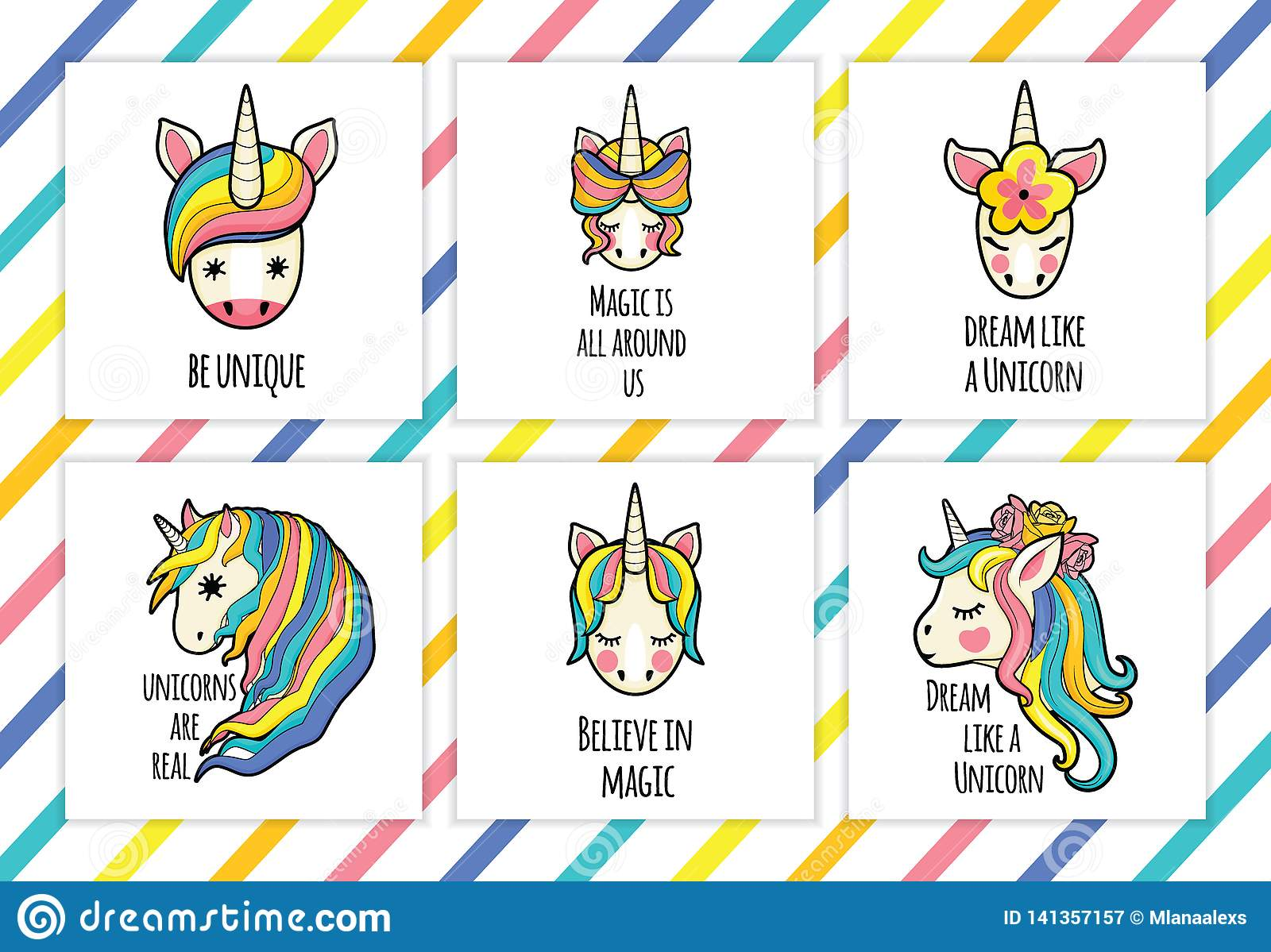Unicorn Face Set With Quotes. Vector Portrait Of A Funny ...