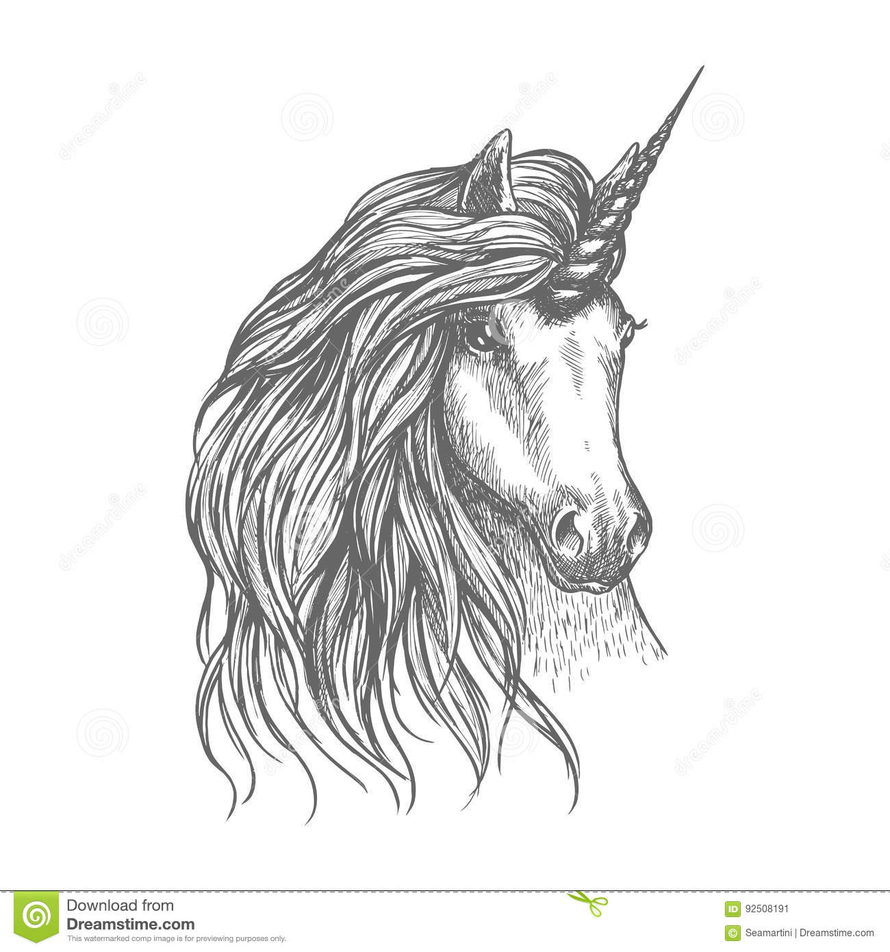Unicorn Fantastic Horse Sketch For Tattoo Design Stock Vector Illustration Of Mare Pony 92508191
