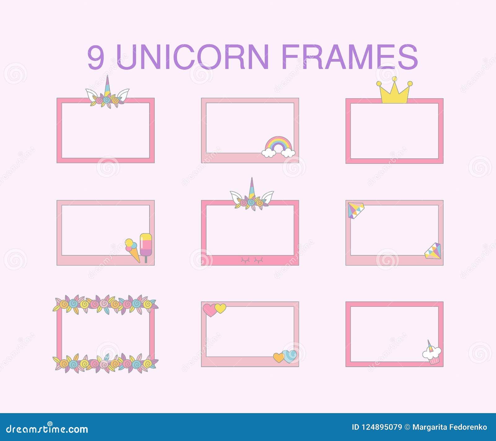 9 Unicorn Flat Frames Vector Design For Greeting Card Stock Vector