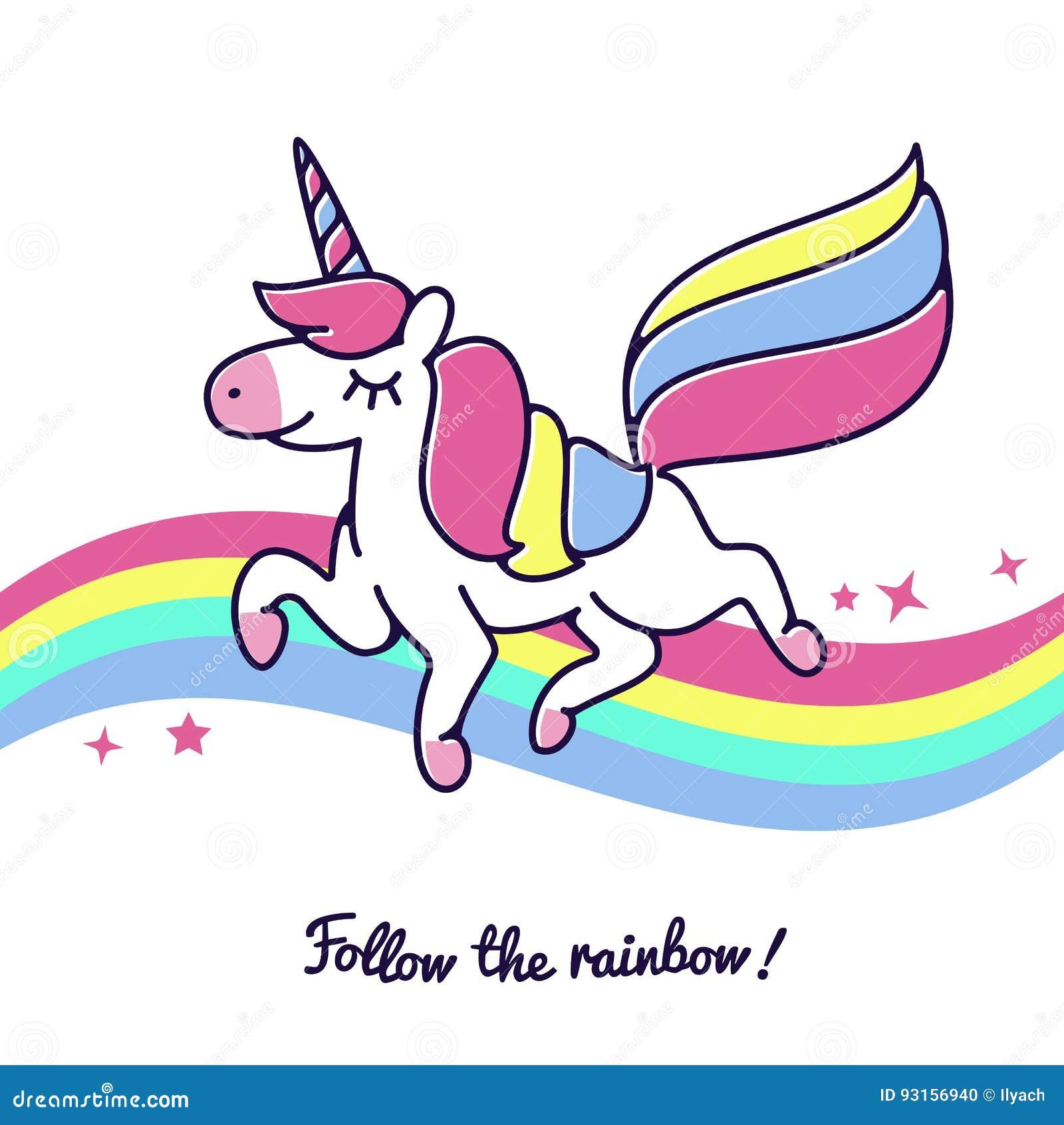 Download Unicorn Flying Across Rainbow Vector Cute Happy Fairytale Cartoon Horse Icon Stock