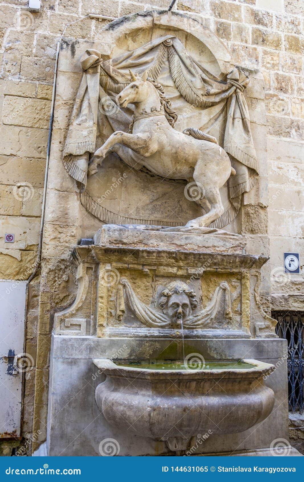 Unicorn Fountain à La Valette, Malte
