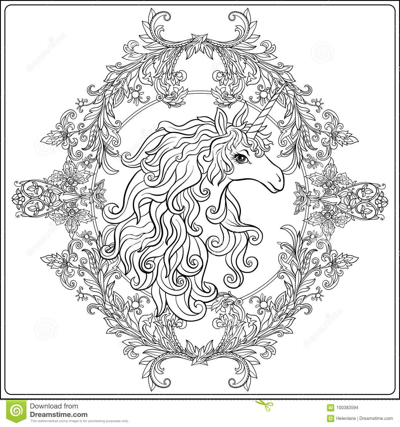 unicorn in the frame arabesque in the royal medieval style ou