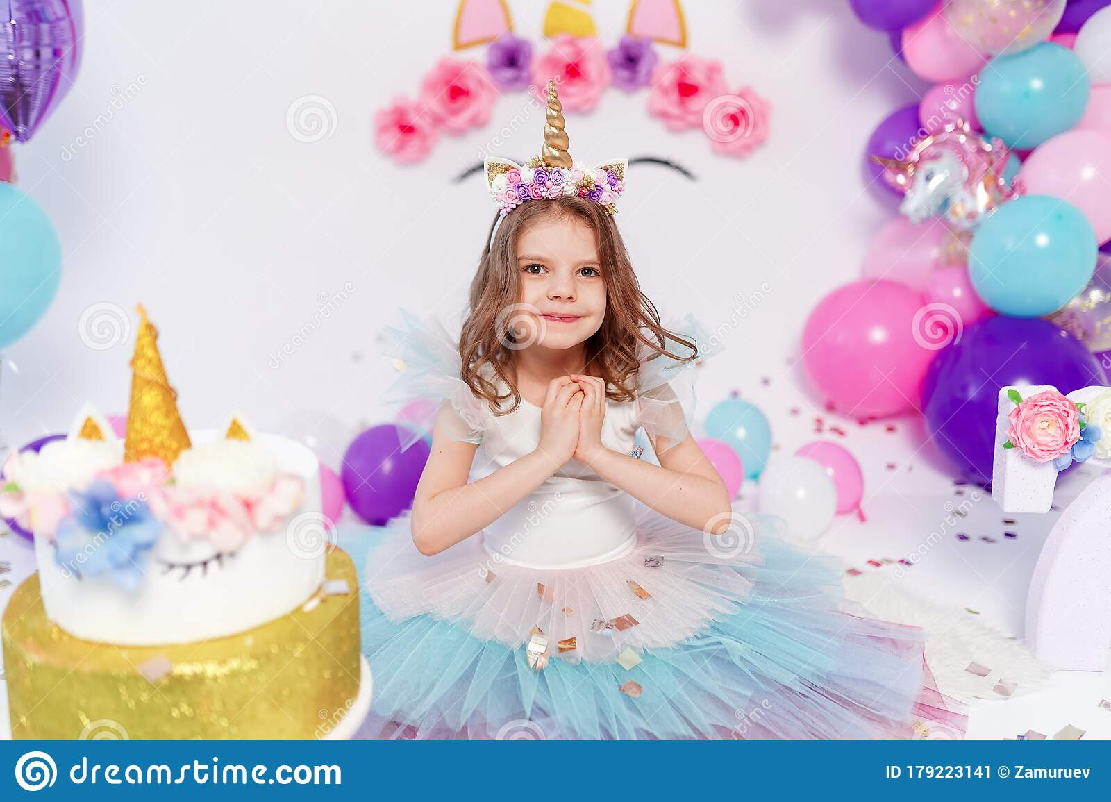 Unicorn Girl Throws Confetti Idea For Decorating Unicorn Style Birthday Party Unicorn Decoration For Festival Party Stock Image Image Of Home Holiday 179223141,How To Make Home Decoration