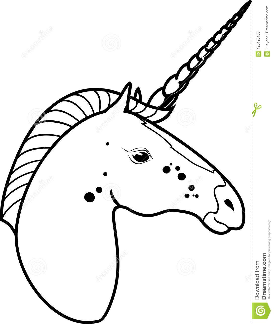 Unicorn Head Coloring Page Stock Vector Illustration Of Fabulous 120196160