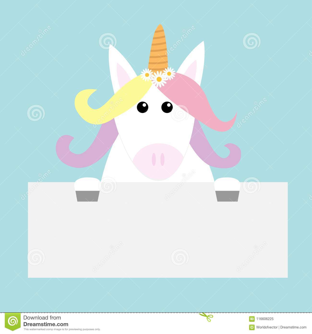 unicorn head face hanging on paper board template pastel color
