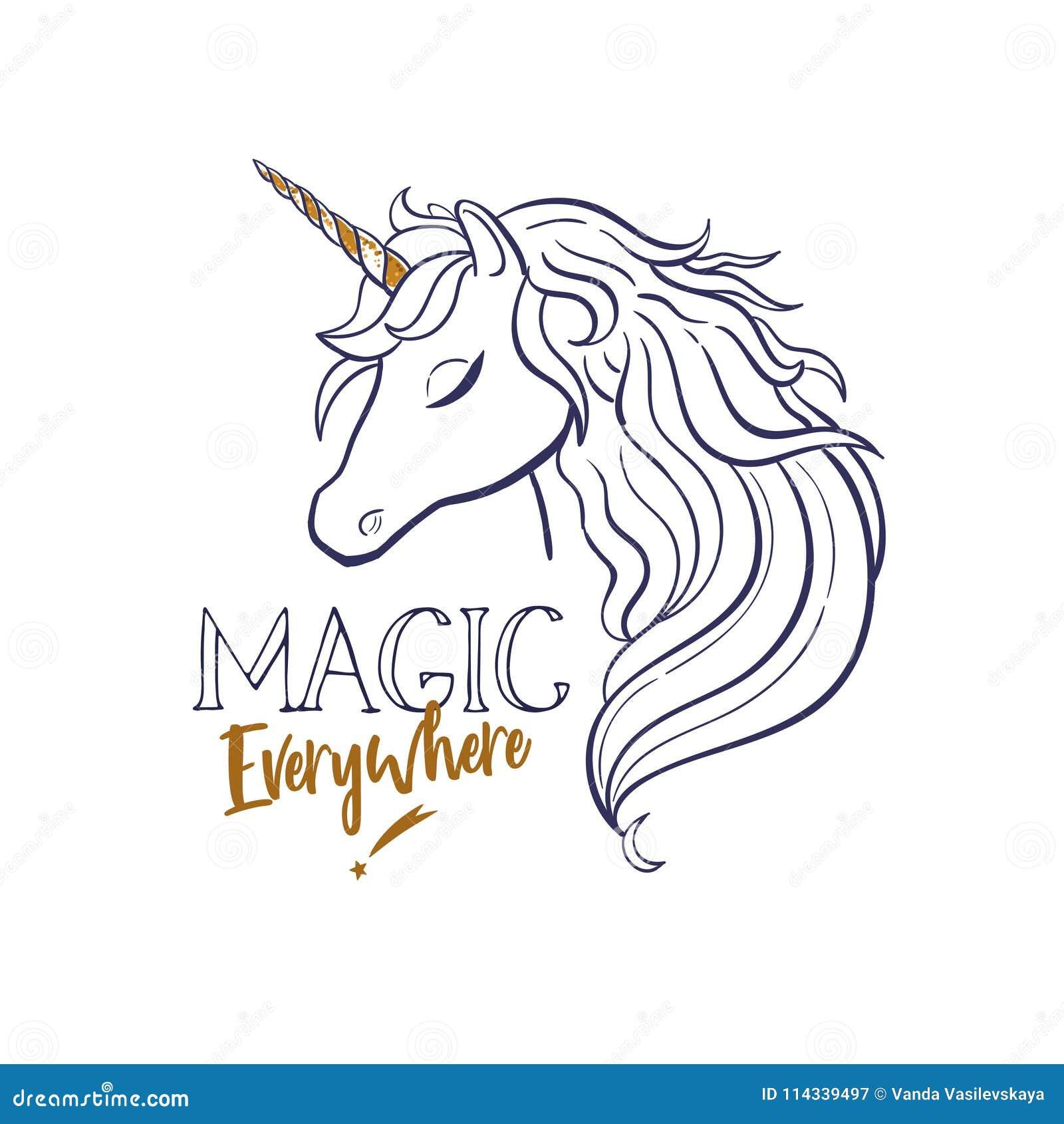 Unicorn Head Silhouette Vector 3 Stock Vector Illustration Of