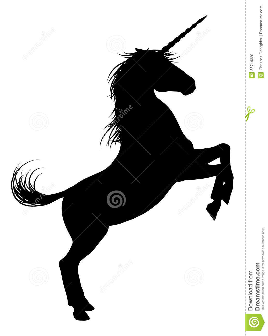 Unicorn mythical horse in silhouette rearing standing on hind legs.