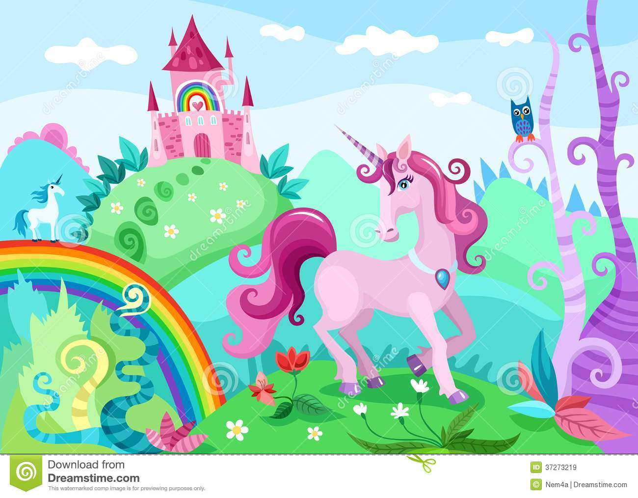 Vector illustration of a beautiful landscape with unicorn