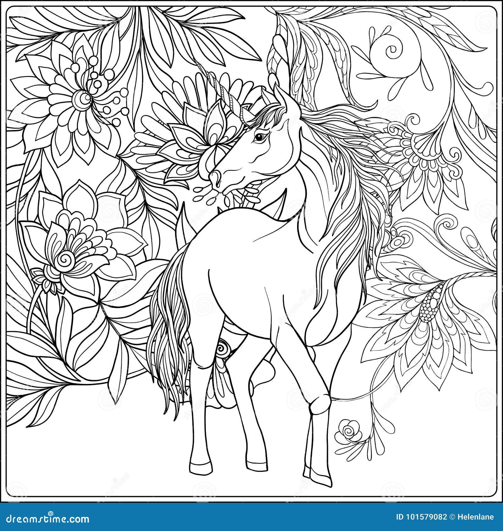 Unicorn In Magical Garden Stock Illustration Illustration