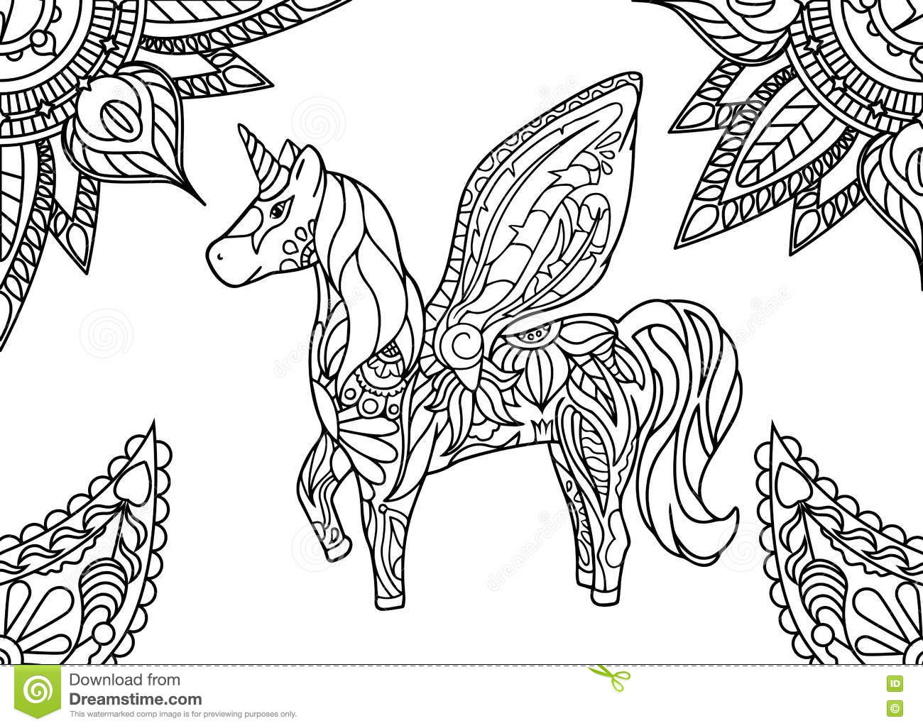Unicorn With Mandala And Paisley Ornament. Horizontal ...