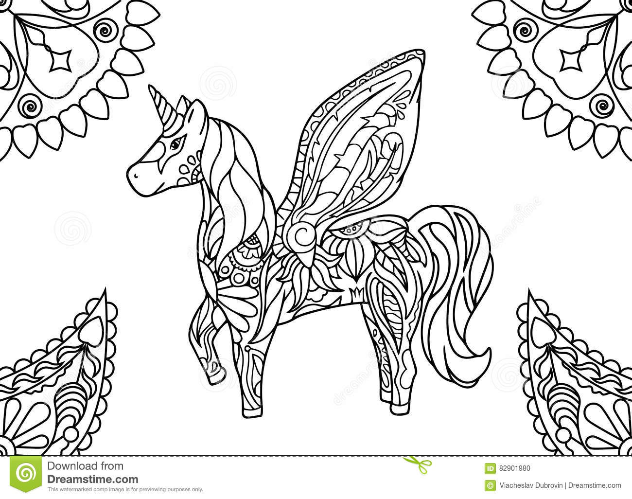Unicorn with mandalas coloring page