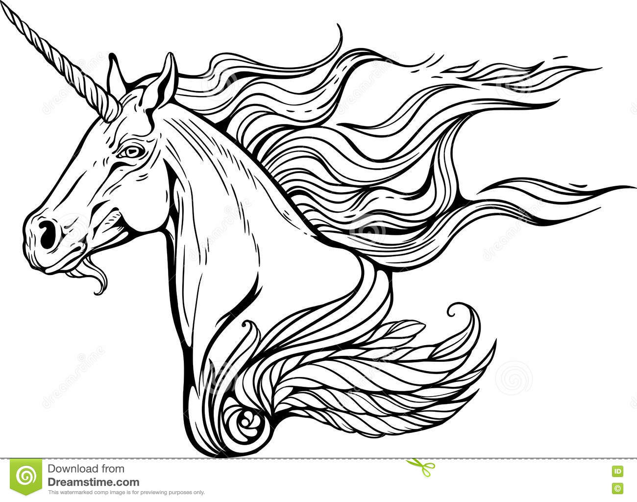 Videos De Dibujos De Free Fire: Unicorn With Mane Of Fire. Stock Vector