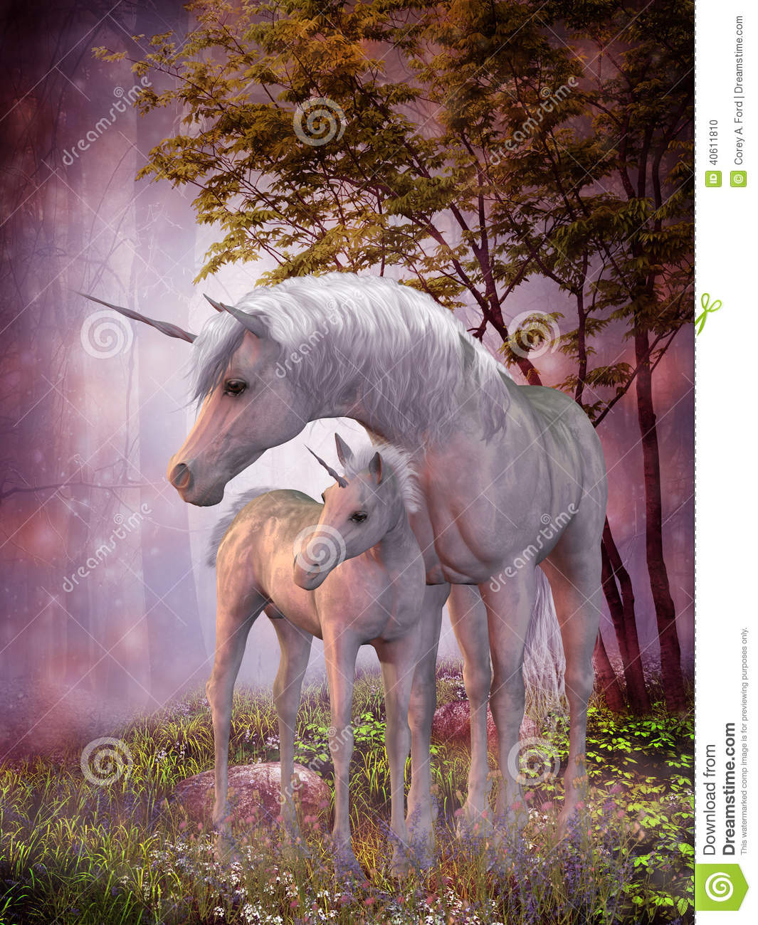 Unicorn Mare And Foal Stock Illustration Image Of Animal 40611810