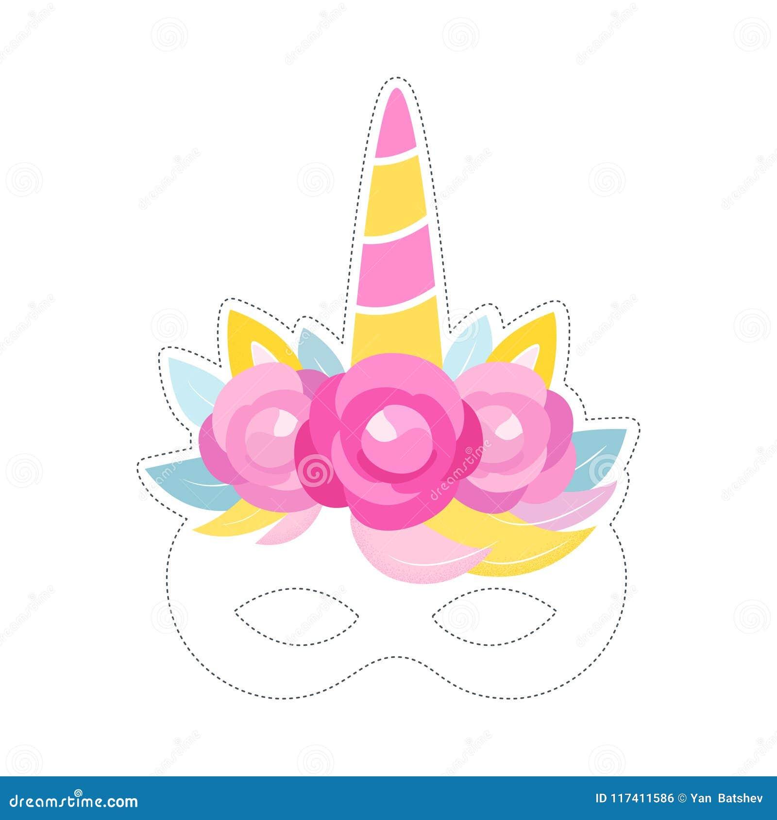 Unicorn Mask Photo Booth Prop Verjaardag of Sluimerpartijdecor Vector ontwerp