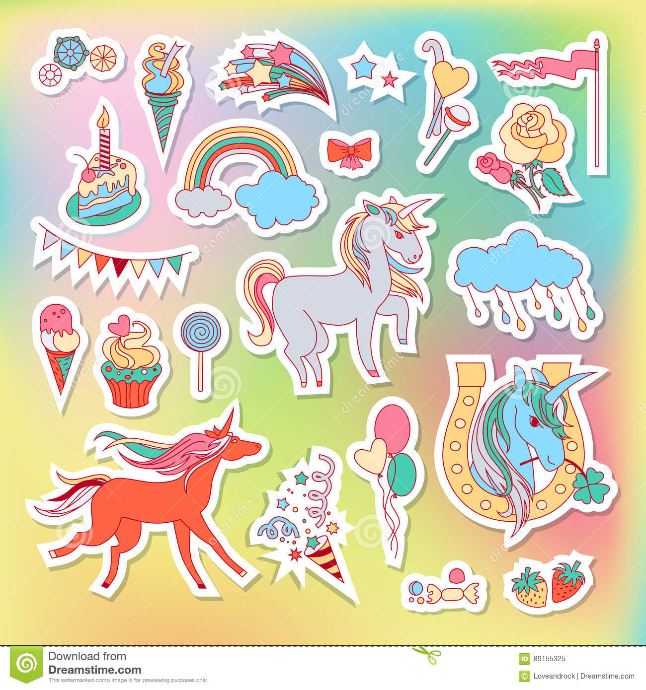 Unicorn multicolor stickers with rainbow, unicorn, cloud, cake, sweets, ice-cream and flag