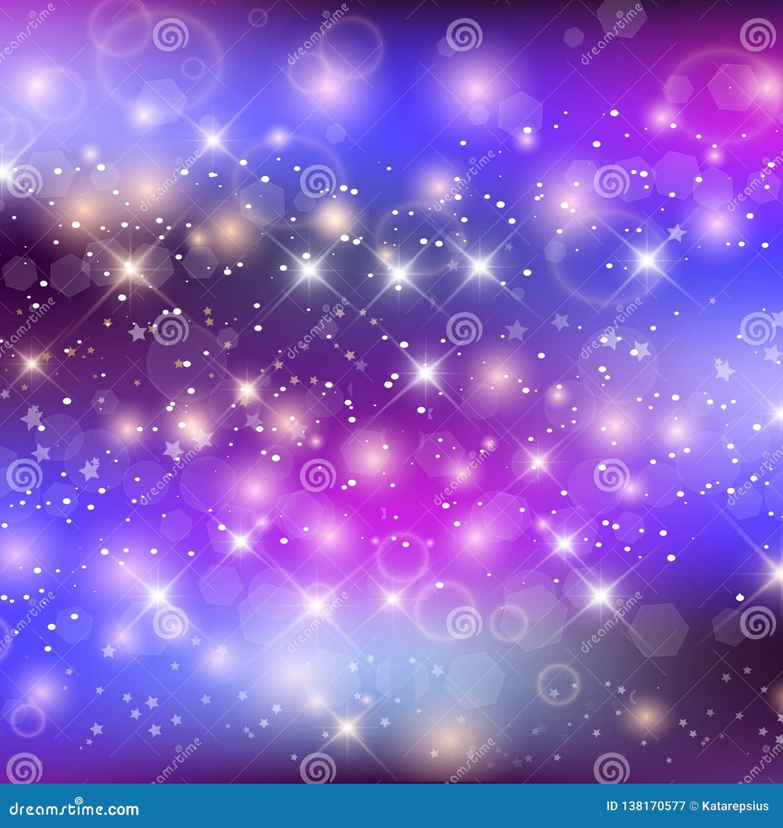 Unicorn Night Galaxy Background With Rainbow Mesh Stock