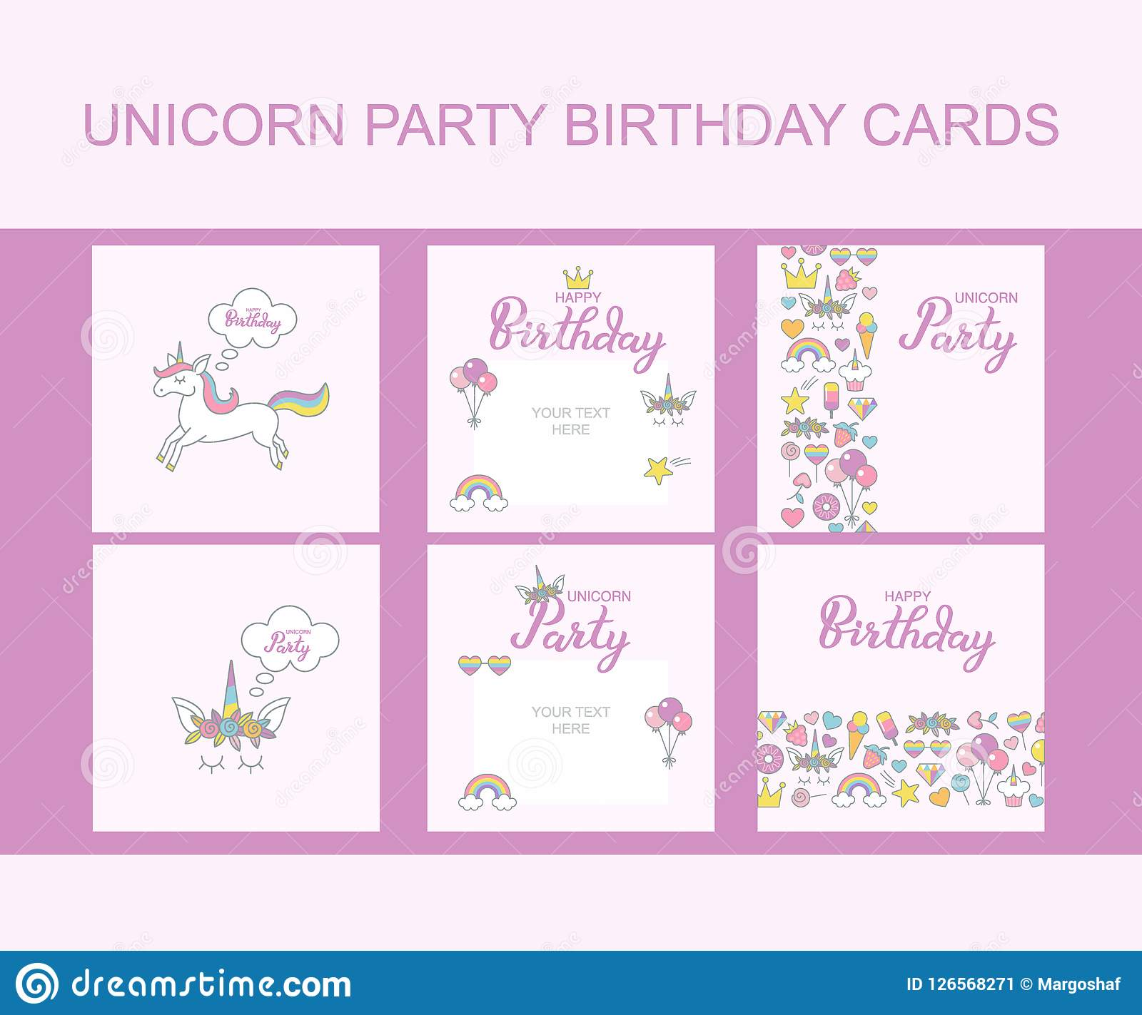 Unicorn Party Birthday Greeting Cards, Typographic Vector Design For ...
