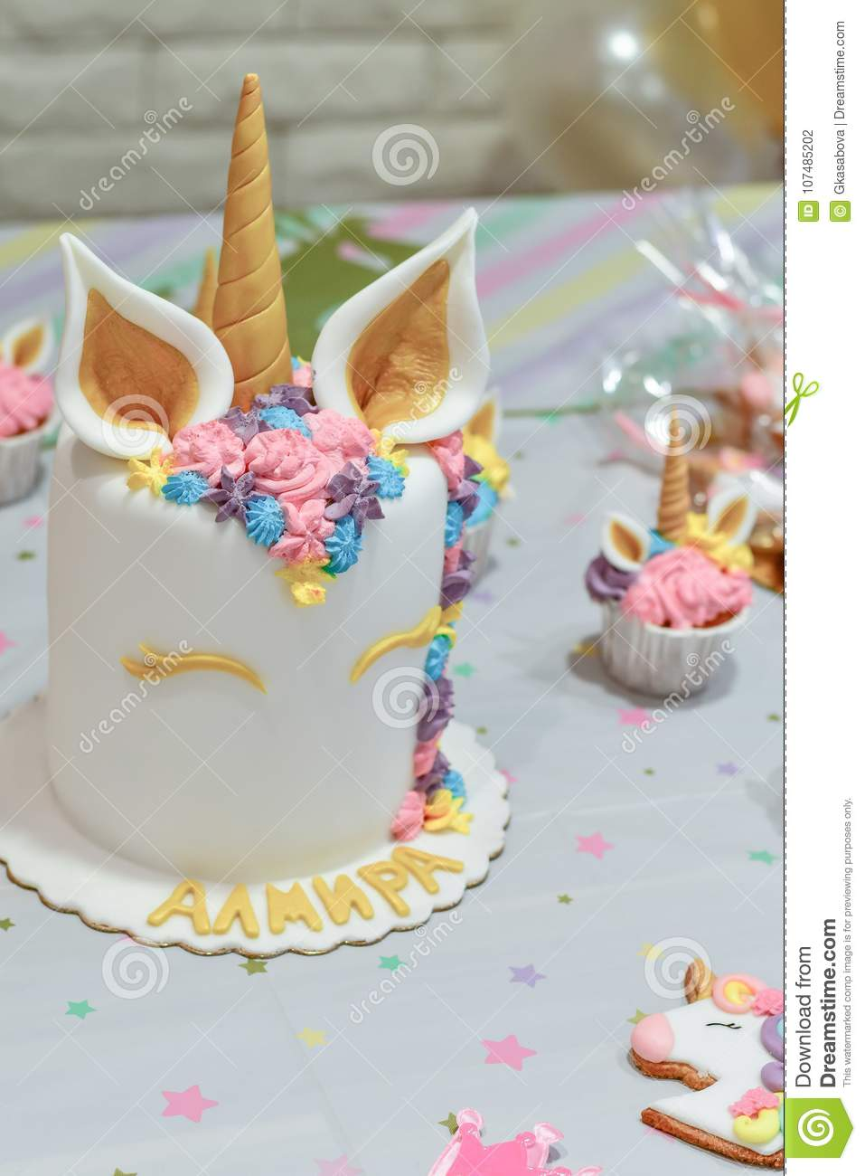Kids Birthday Party Decoration And Cake Decorated Table For Child Celebration Rainbow Unicorn Cupcake