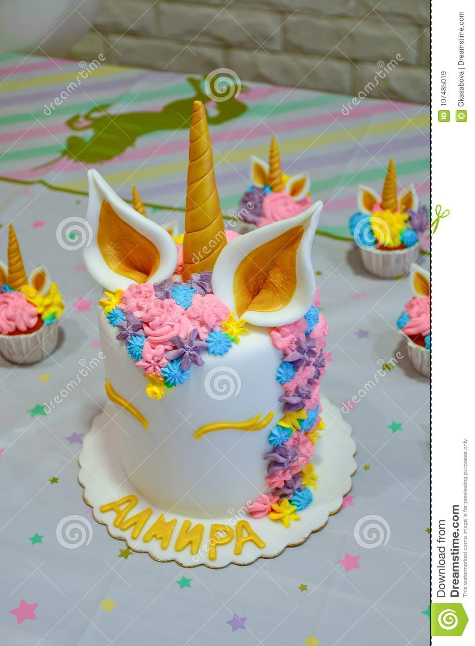 Unicorn Party Cupcakes Stock Image Of Kids Pastel