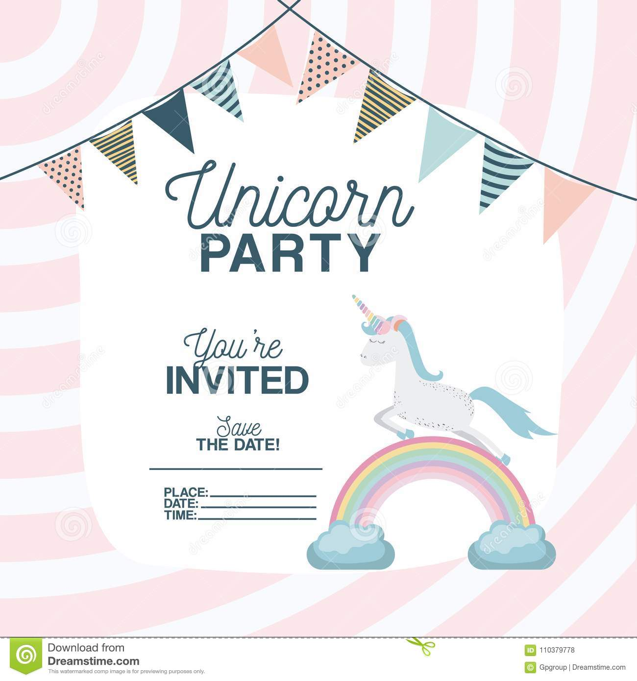 Unicorn Party Invitation Card With Floral Decoration And Garlands ...