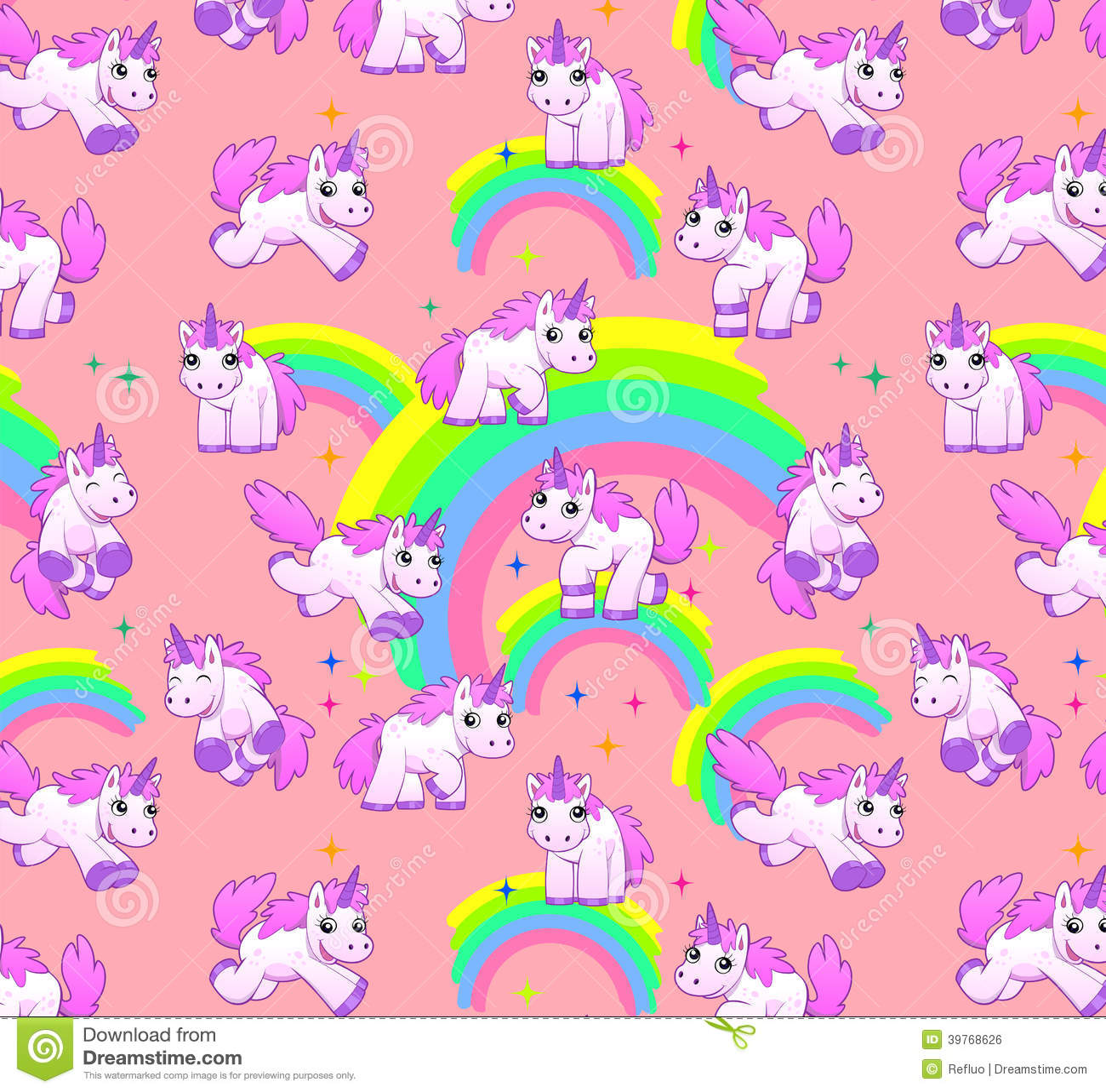 unicorn pattern pink stock illustration image 39768626