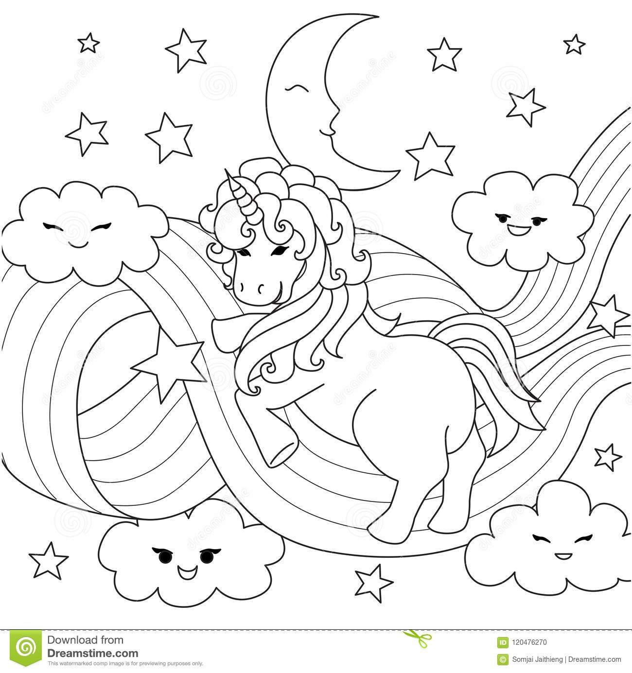 Unicorn Playing With Rainbow Path For Design Element And Coloring