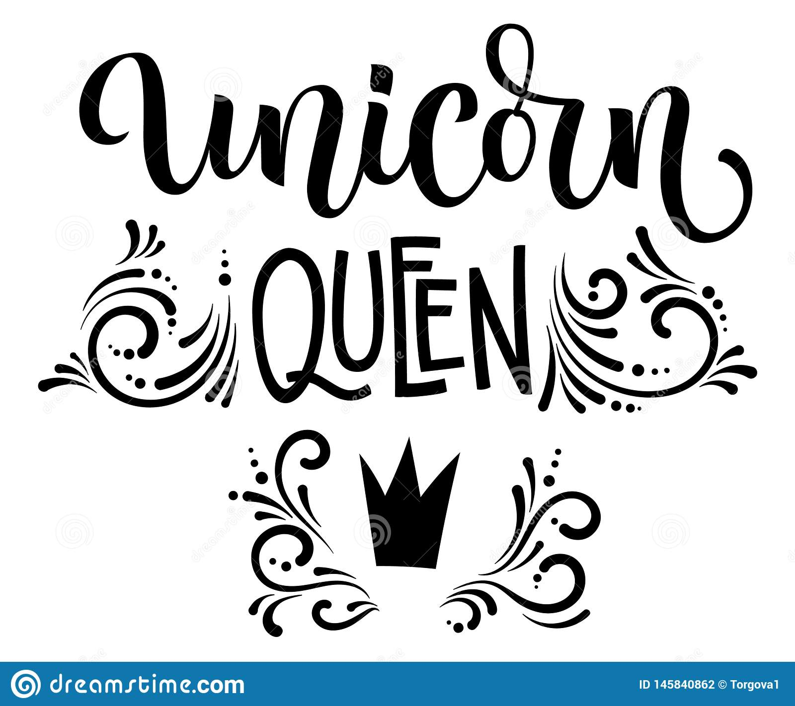 Unicorn Queen hand drawn moderm isolated calligraphy text with splashes, crawn decor