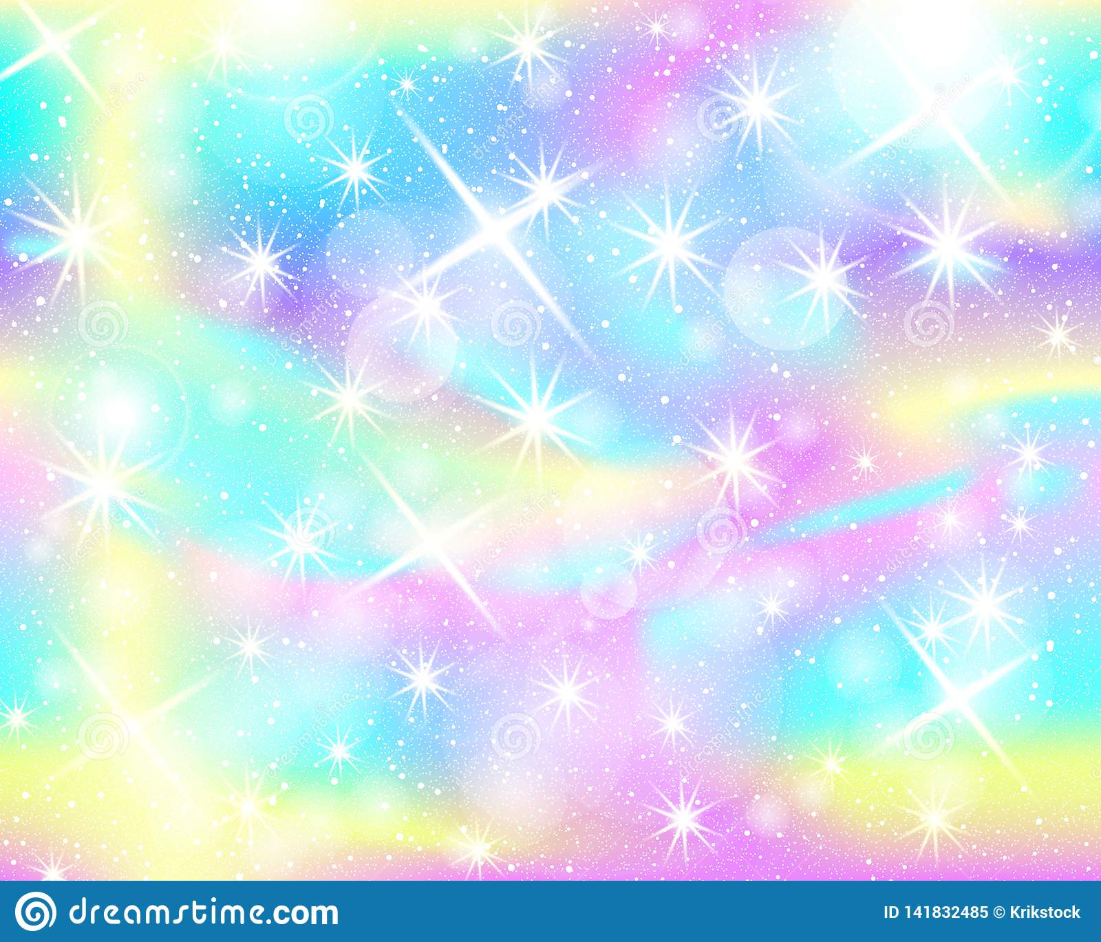 Unicorn Rainbow Background. Holographic Sky Stock Vector ...