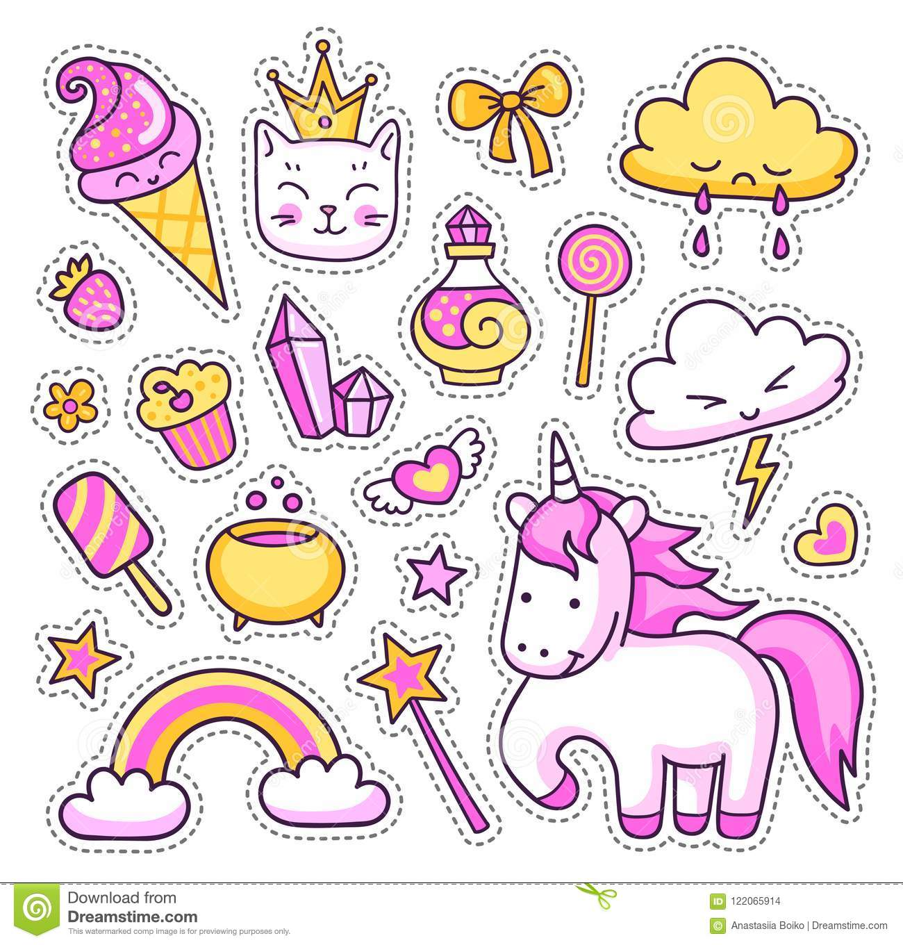 Background Of Cute Ice Cream With Phrase Vector: Set Of Cute Cartoon Stickers, Patches, Badges, Pins