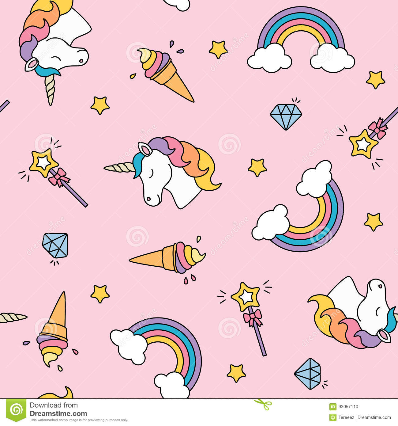 Pattern Cute Colorful Ice Cream Textiles Stock Vector: Unicorn, Rainbow And Magic Wand Pastel Colors Seamless